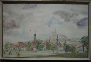 Fritz-GOHRING-XX-Aquarell-Ansicht-Neresheim-mit-Kirche-signiert-antik-1946