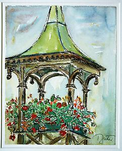 Andreas-Buehler-Schweiz-1960er-Jahre-Garten-Pavillon-Blumen-Aquarell-47-x-35