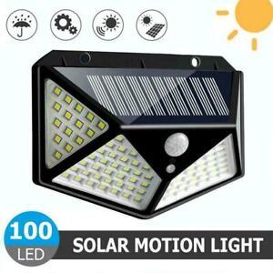 100-LED-Solar-Power-PIR-Bewegungssensor-Wandleuchte-Aussenleuchte-A6C5