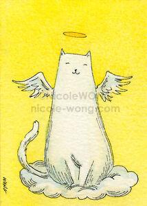 ACEO-PRINT-Angel-watercolor-painting-drawing-spiritual-fantasy-cat-pets