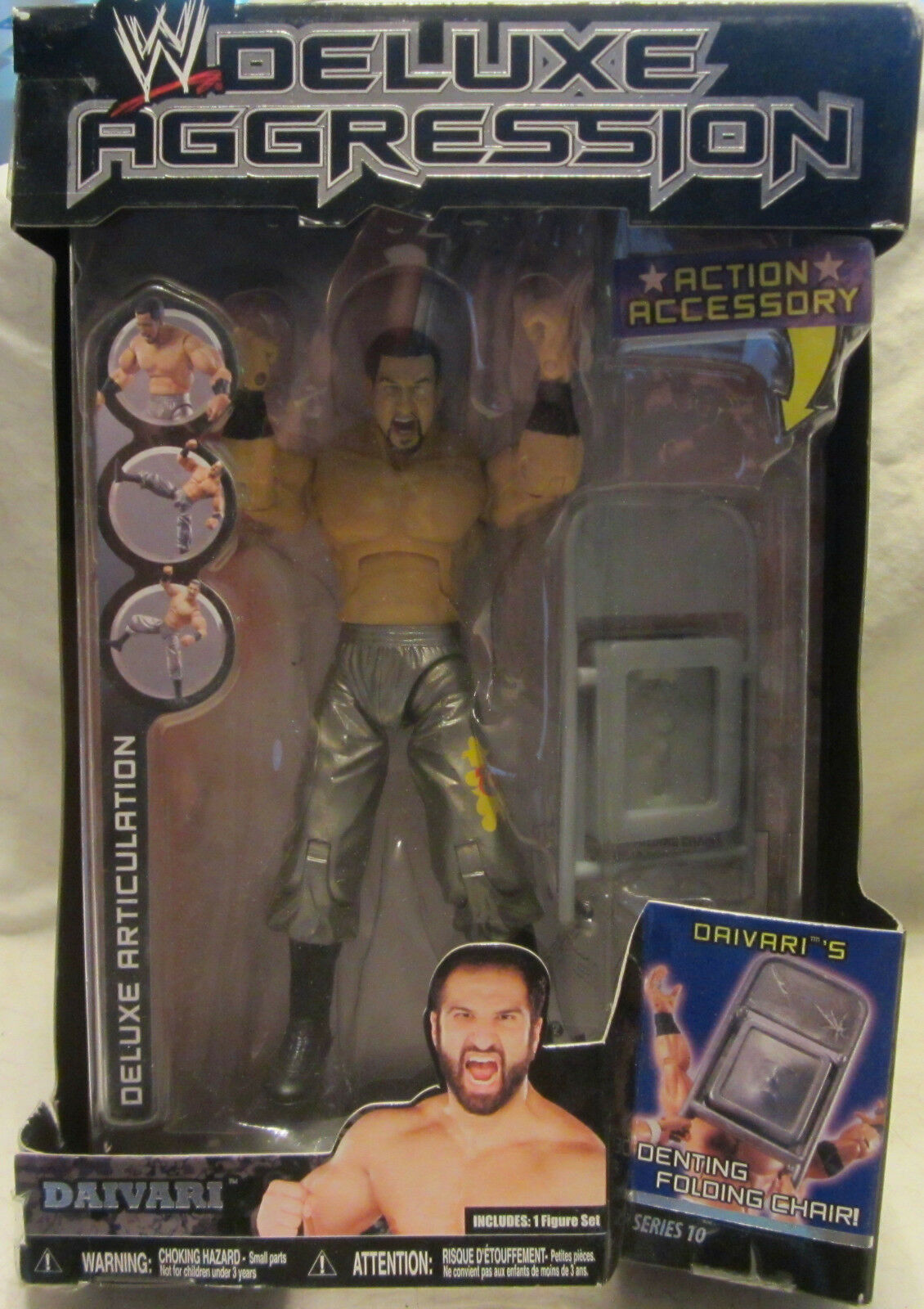 WWE Wrestling Deluxe Aggression Daivari Action Figure w Denting Folding Chair