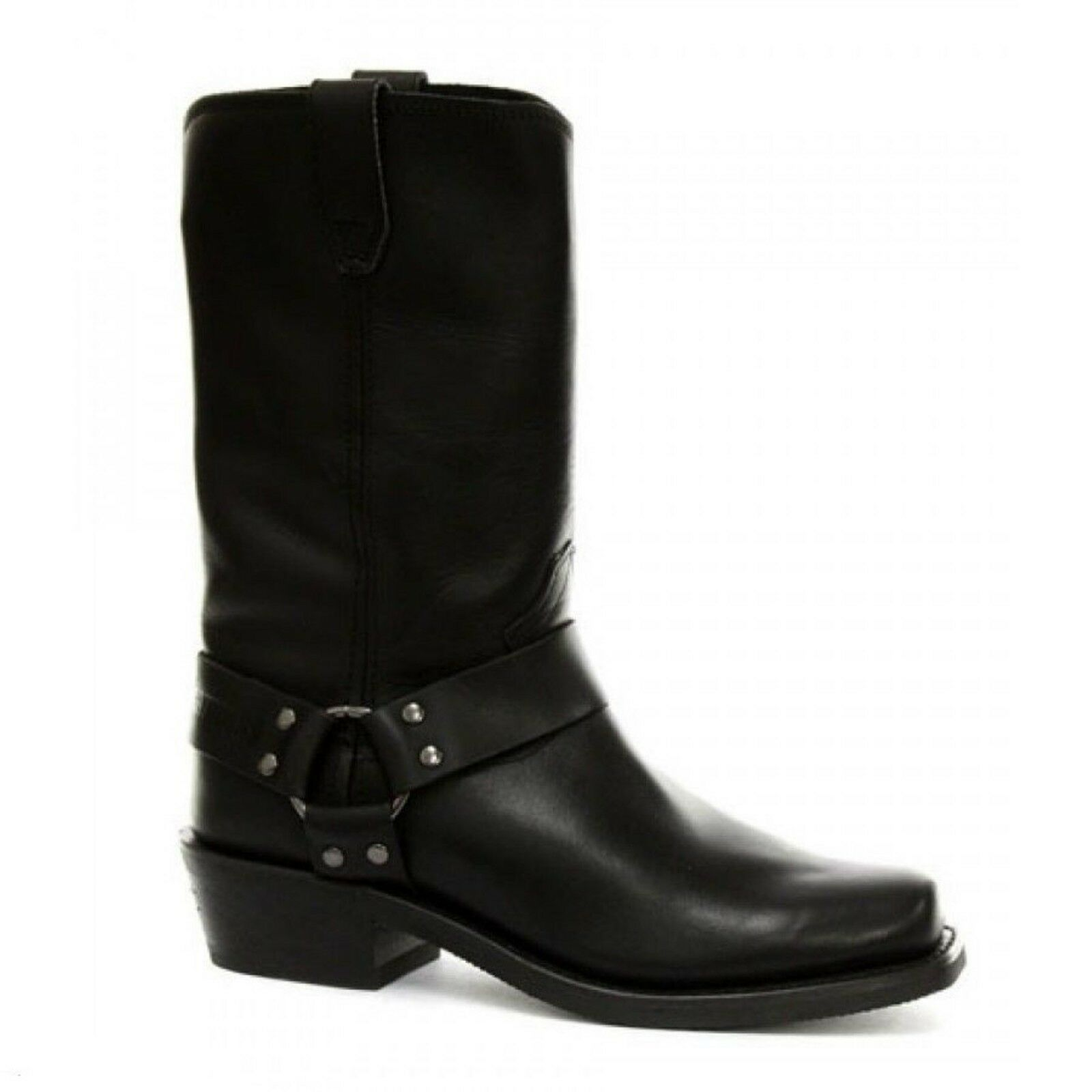 Grinders Rare Old Waxy Renegade Unisex Hi Biker Black Leather Boots