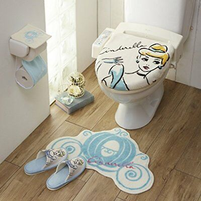 Disney Cinderella toilet lid cover & mat & slipper & paper holder Japan new .