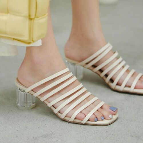 Details about  /Womens New Fashion Summer Peep Toe Hollow Out Slippers Block Mid Heels Sandals D