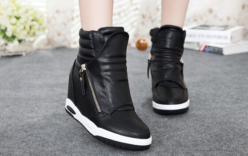 fall ankle boots womens High-top Wedge Hidden Heel Platform new Fashion Sneakers