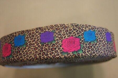 WebBand 1663 fleurs sur Leopard 25 mm large ruban Galon