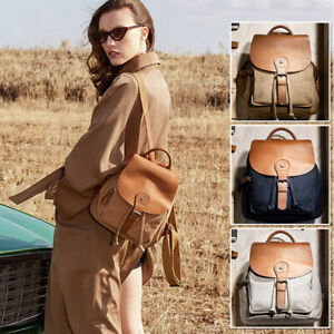 Women-039-s-Canvas-Real-Leather-Drawstring-Small-Mini-Backpack-Rucksack-bag-Purse