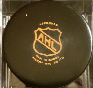 1983-84 ST. CATHARINES SAINTS VINTAGE AHL OLD VICEROY  GAME PUCK MADE IN CANADA
