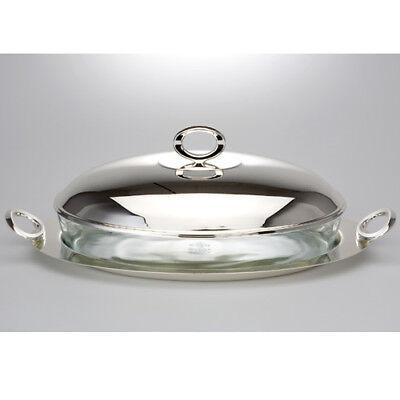 Vetro Sformato Forma Ovale Vassoio Argento Con Coperchio Maniglie Servierschale- Elegante E Grazioso