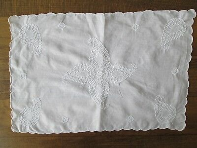 Fedele Napperon Coton Broderie Fleurs Linge Ancien Firm In Structure