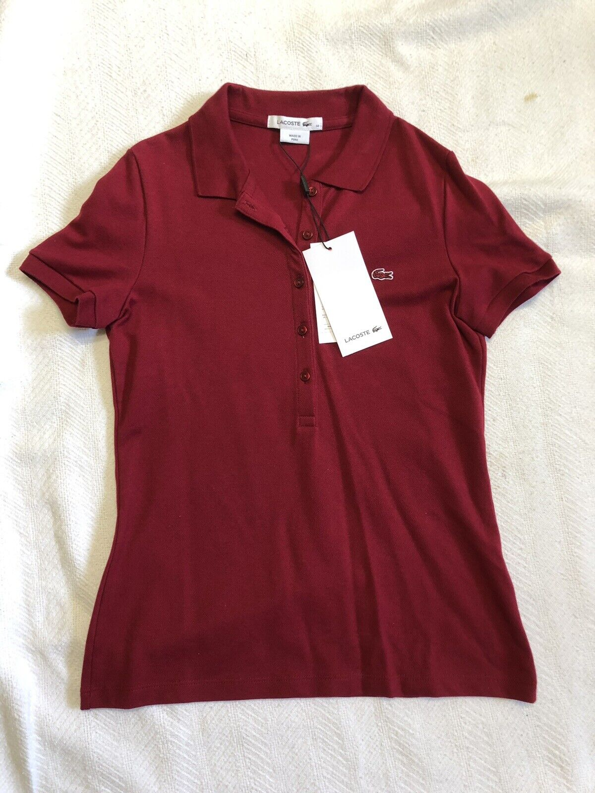 Women's Lacoste Pique Polo Style Shirt In Deep Red Sz 34 2 NWT