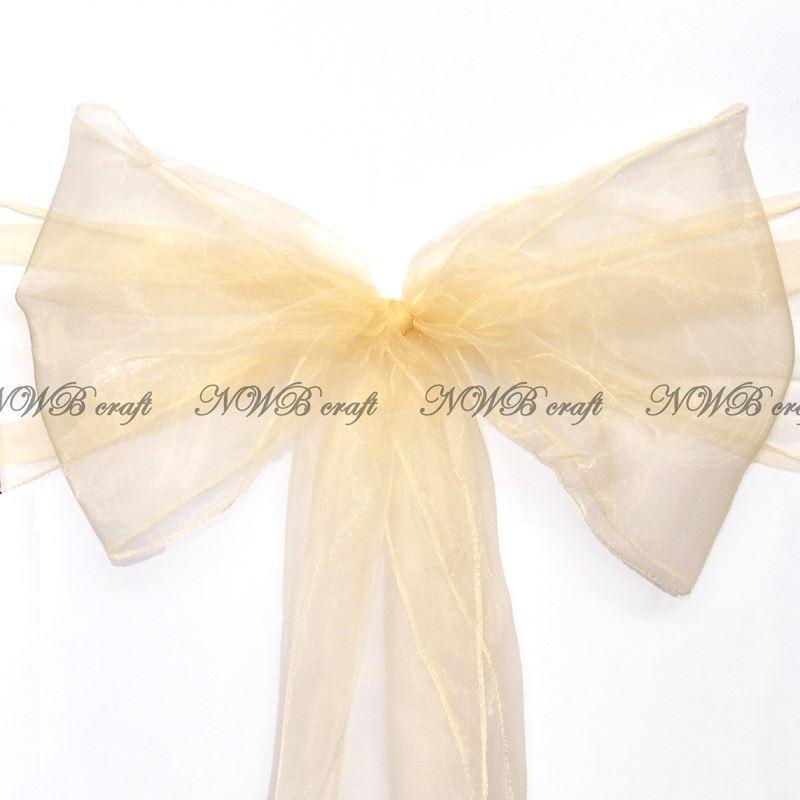 Cream Chair Sashes 22x280cm Wedding Party Reception Decor Bow