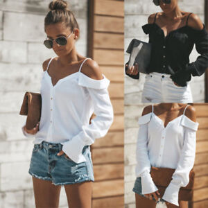 Women-Button-Sexy-Off-Shoulder-V-Neck-Long-Sleeve-Tops-Casual-Loose-Blouse-Shirt