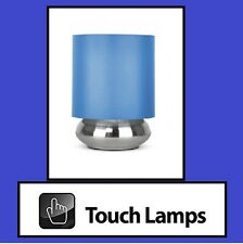 BLUE SHADE & BRUSHED CHROME BASE TOUCH TABLE/BEDSIDE LAMP (4 TOUCH SETTINGS)