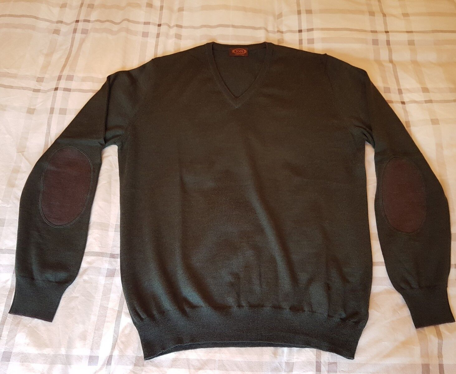 TODS  Herren LUXURY JUMPER / SWEATER - Grün + ELBOW PATCHES - 44