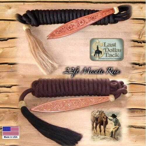 WESTERN BOSAL BROWN MECATE REIN 22FT WITH RAWHIDE KNOT & HORSE HAIR TASSEL