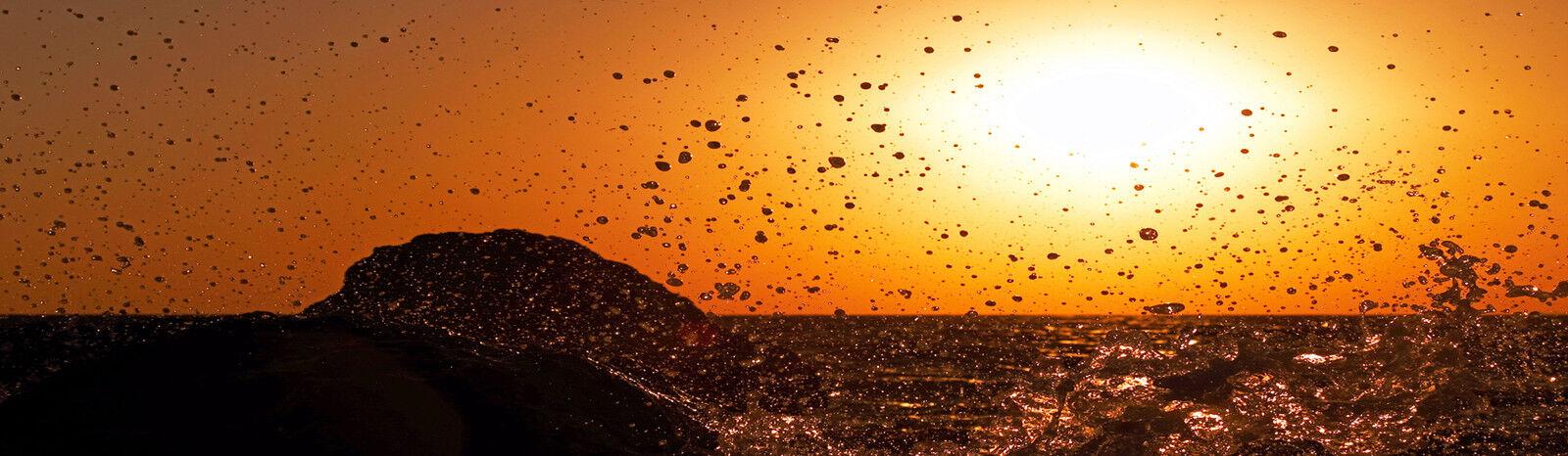 Infrarotheizung Glas rahmenlos, 320 Watt lang, Motiv  Wasser