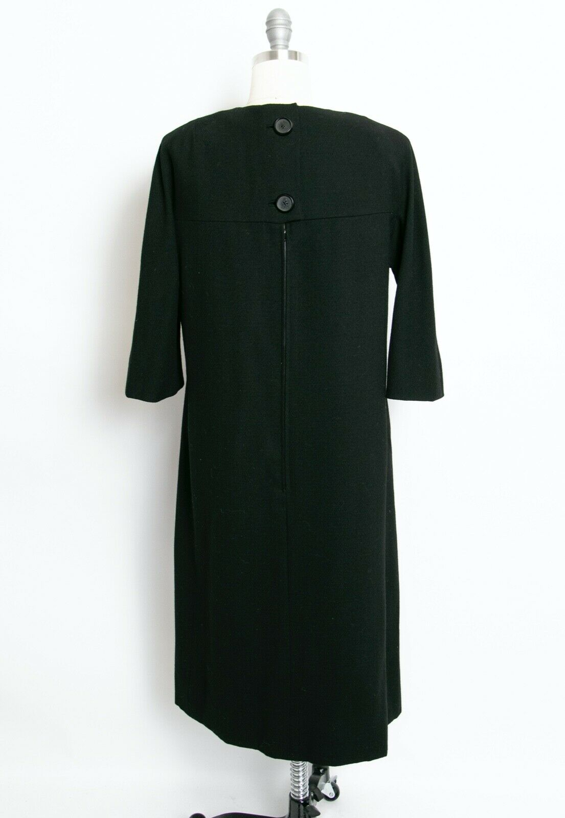 HARVEY BERIN 1960s Dress Black Wool Large - image 2