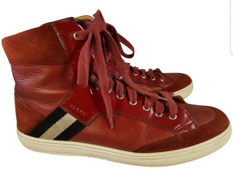BALLY MAN schuhe Turnschuhe HIGH TOP rot OLDANI 148 ALL LEATHER PATENT 9.5 10.5