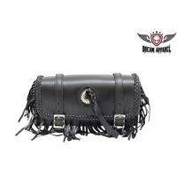 Real Leather Motorcycle Tool Bag W/ Braid& Fringe For Harley Davidson