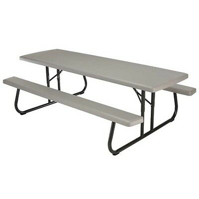 Fine Lifetime Folding Picnic Table 80123 8 Foot Commercial Table With Benches 81483003283 Ebay Machost Co Dining Chair Design Ideas Machostcouk