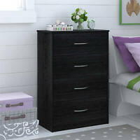 4 Drawer Dresser Chest Bedroom Furniture Black Brown White Storage Wood Modern