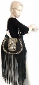 Black Raviani Western Leather Handbag Tote /& Cross Body Purse Crystals /& Fringe