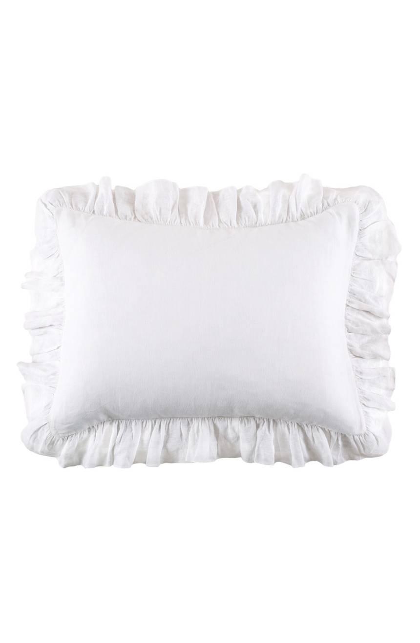 Pom Pom at Home Charlie Belgian Linen Standard Size Sham Bedding White New