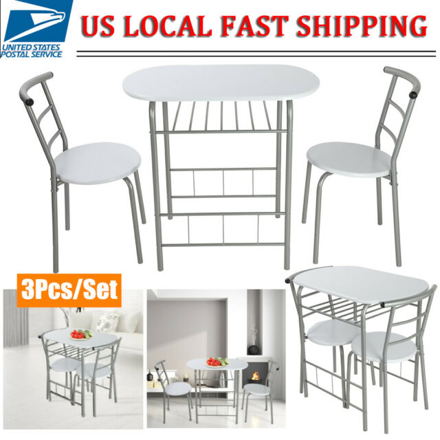 Awesome 3 Piece Dining Table Set 2 Chairs Steel Kitchen Dining Room Furniture White Us Ibusinesslaw Wood Chair Design Ideas Ibusinesslaworg