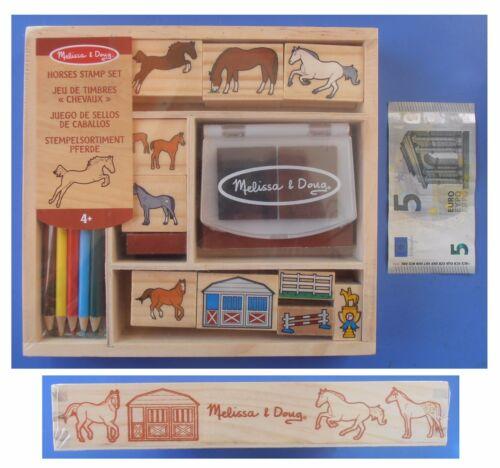 Set 10 timbri timbrini cavalli matite colorate scatola in legno Melissa e Doug