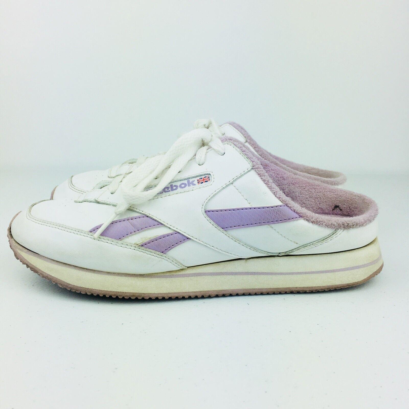 Reebok Damenschuhe Skeakers Schuhes Weiß Purple Vintage Slide Slip On Classic Vintage Purple 80s 90s 517e61