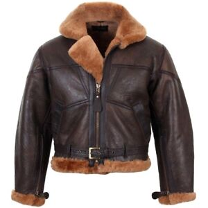 1ff57901b Details about British Fighter Pilot Flying Jacket - Winter Leather  Sheepskin RAF Repro WW2 New