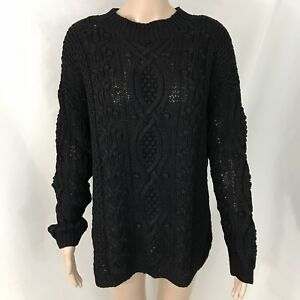 Details about 80's Vintage EXPRESS Tricot Sz Medium Black Turtleneck Sweater Chunky Knit