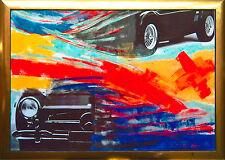 Mercedes + AC Cobra, UNIKAT Acrylgemälde-Collage 100 x 70 cm Max Stern *1968