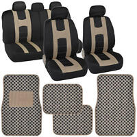 Beige Tan/black Auto Seat Covers & Checker Rug Floor Mats For Car Suv Van on Sale