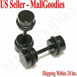 2085-Black-Fake-Cheaters-Illusion-Faux-Ear-Plugs-16G-Surgical-Steel-4G-5mm-Small