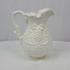 Vintage-Porcelain-Pitcher-Grapes-Ornate-Decoration-Made-in-Japan