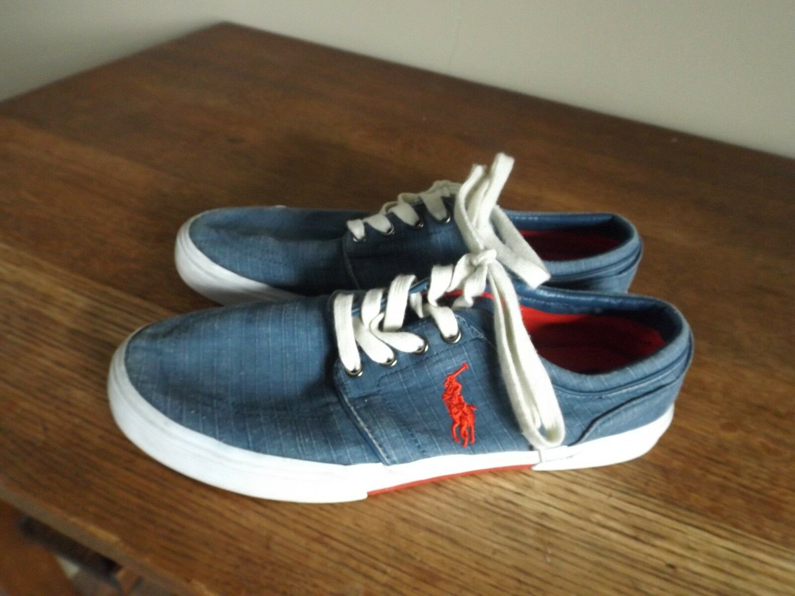 POLO RALPH Ripstop LAUREN Blue Denim Chambray Ripstop RALPH Red Pony Low FAXON Sneakers 10.5 112a2b