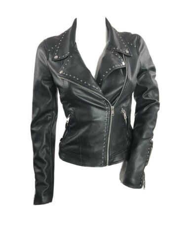 Zara Faux Leather Studded Moto Biker Jacket  sz XS