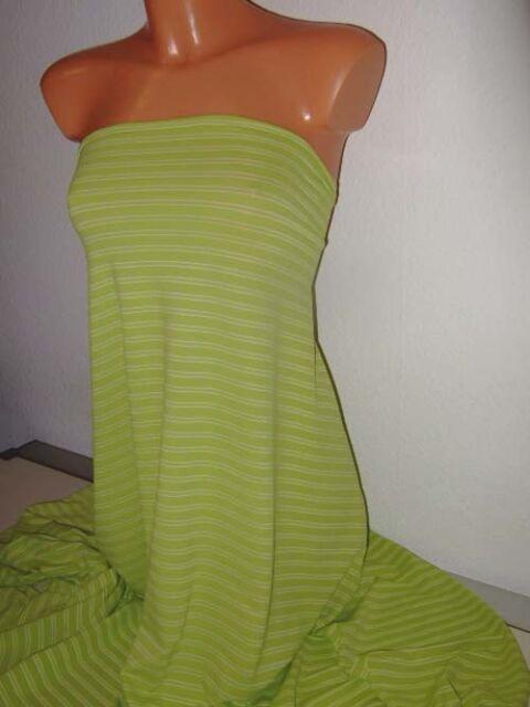 1 m Ringel Jersey in kiwi, gelbgrün, gestreift mit weiß, bi-elastisch