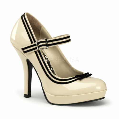 Pin Up Couture Mary Jane Pump Black Contrast Trim Ladies Beige Brown Hell Shoes