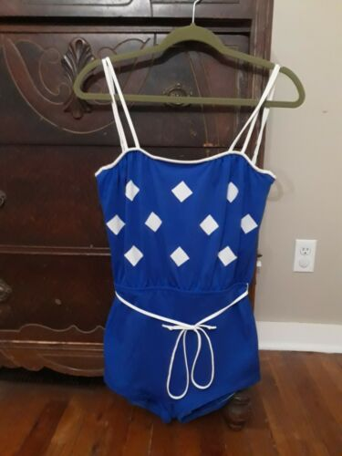 Vintage 1960s Blue DEWEESE S/M One Piece Swimsuit