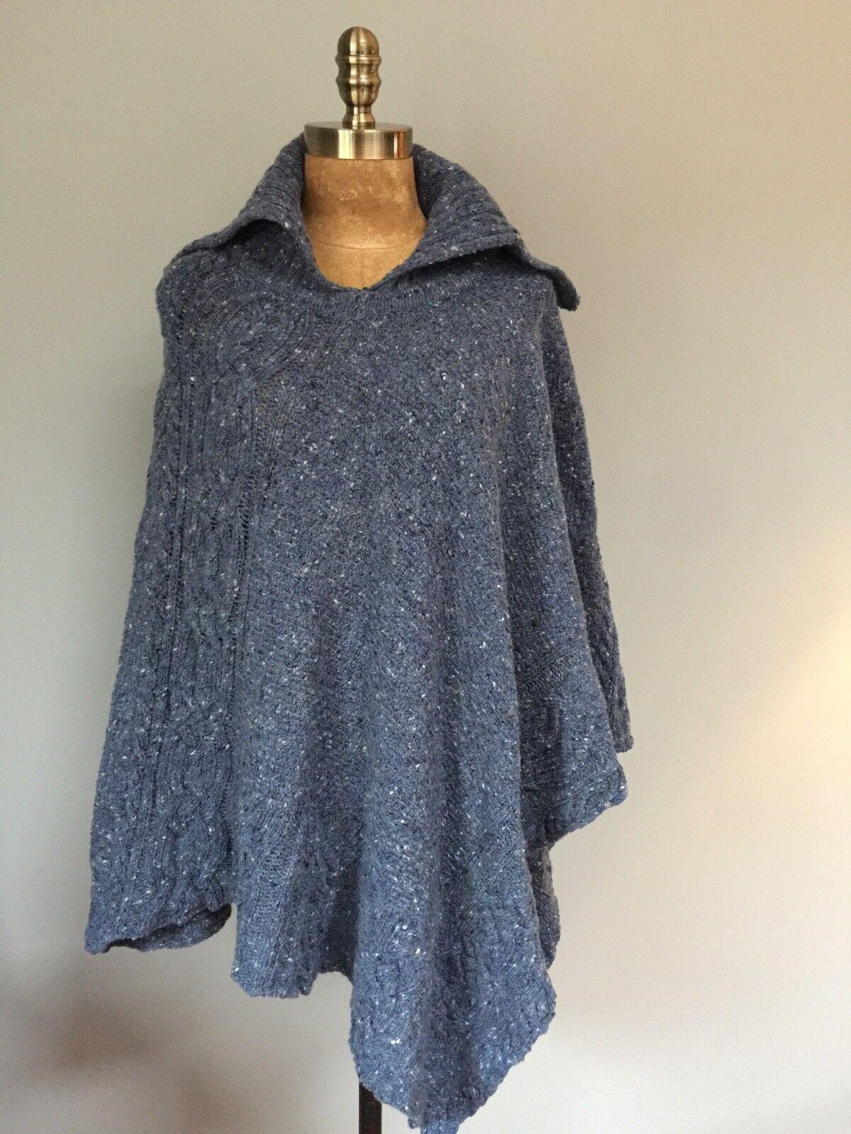 NWT 'IRELANDSEYE' blueE TWEED PONCHO 'AILISH' XL