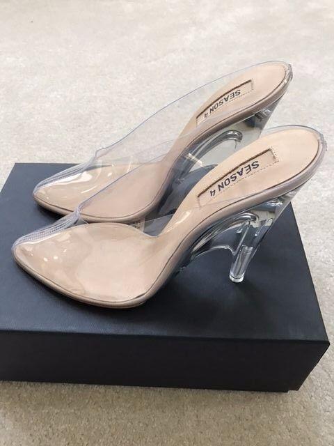 da39eeea3 Yeezy Season 4 PVC Lucite Plexi Clear Transparent Mules Mule Heels Sandals  Shoes