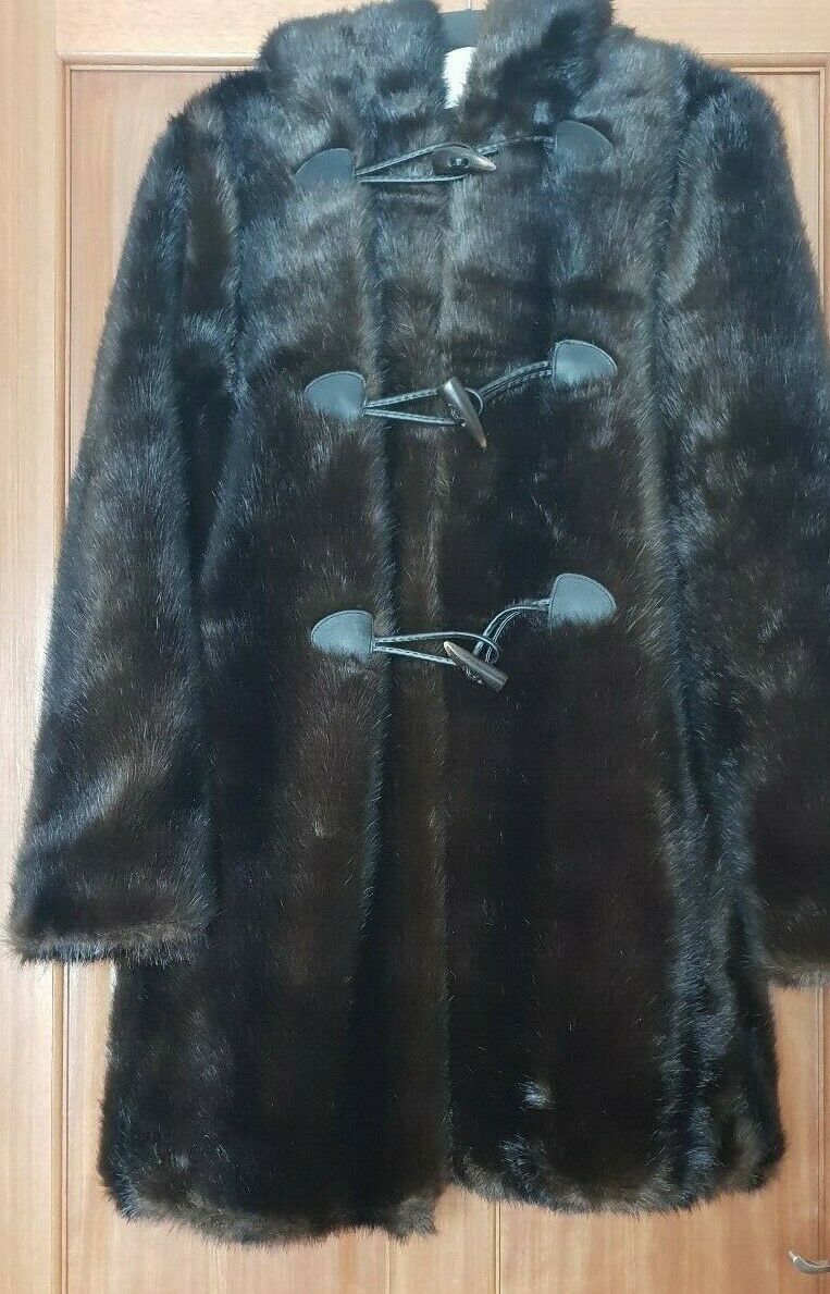 ZARA TOBACCO  BROWN  HOODED FAUX FUR COAT WITH TOGGLES FASTENING AW 18 19 SIZE S