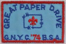 1974 GNYC Activity Patch Greater NY Councils Great Paper Drive Boy Scout BSA