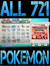 GENUINE POKEMON OMEGA RUBY ALL 721 SHINY POKEMON NINTENDO 3DS 2DS ALPHA SAPPHIRE