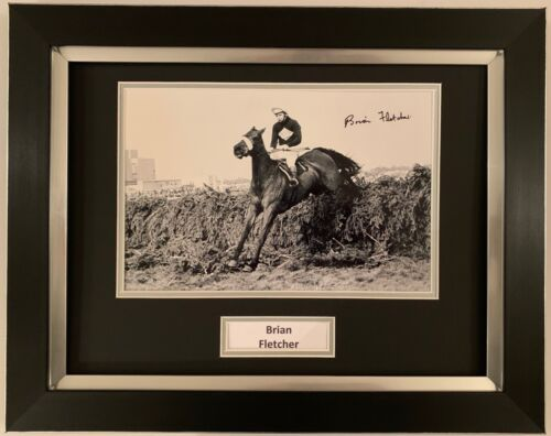 BRIAN FLETCHER HAND SIGNED FRAMED PHOTO DISPLAY HORSE RACING RED RUM 1.