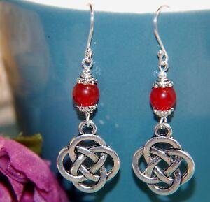 Pretty RED AGATE Gemstone & CELTIC KNOT Sterling Silver Earrings