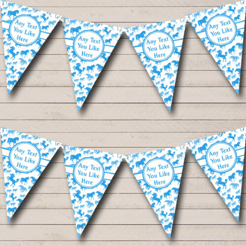 Blue White Horses Personalised Children/'s Birthday Party Bunting Banner